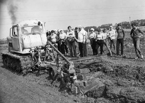 Practical classes in mechanization on educational research farm Ukraine, 80s of the 20th century.